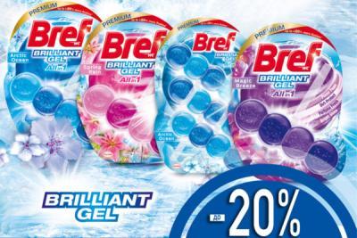 до -20% на средства ТМ Bref Brilliant Gel с 01.09.21 по 30.09.21