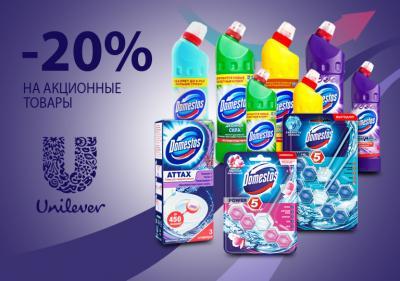 До -20% на акционные товары Domestos. Акция действует до 31.10.19